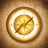 Vinatge antique golden compass Royalty Free Stock Images