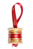 Vinatge cotton reel handmade christmas decoration. Studio cutout Royalty Free Stock Images