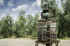 Vinatge olive press Stock Image