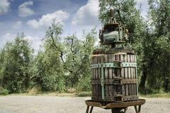 Vinatge olive press Stock Image