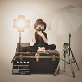 Vinatge Photograph Boy With Old Camera And Lights Royalty Free Stock Photo