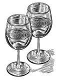 Vinatge Woodblock Style Wine Glasses Royalty Free Stock Image