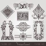 Vinatgebanner met patroon en element Stock Afbeeldingen