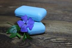 Vinca naturale del fiore e del sapone Fotografia Stock Libera da Diritti