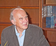 Vince Cable MP, PC. Vince Cable, the UK Government Business Secretary,  listening to a question posed by a Liberal Democrat activist at a political meeting in Stock Image