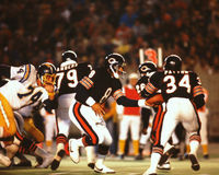 Vince Evans hands off to Walter Payton. Former Chicago Bears QB hands off to Hall of Famer Walter Payton. (Image taken from color slide Royalty Free Stock Photography