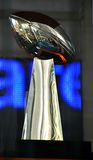 The Vince Lombardi Trophy. Football fans gathered on Broadway to get a glimpse at The Vince Lombardi Trophy , during the Super Bowl Boulevard event in New York stock photo