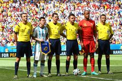 Vincent Kompany  and Lionel Messi Coupe du monde 2014 Royalty Free Stock Image
