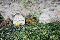 Vincent Van Gogh Grave with his brother Theo, Auvers-sur-Oise, FRANCE. Auvers-sur-Oise, FRANCE - December 1, 2014 : Vincent Van Gogh Grave with his brother Theo stock images