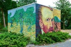 Vincent van Gogh Street Art målade på en tegelstenvägg Arkivfoto