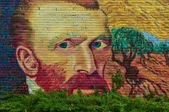 Vincent van Gogh Street Art målade självståenden på en tegelstenvägg Arkivfoton