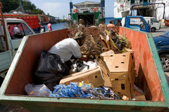 A vincentian vagrant digging around in a dumpter Royalty Free Stock Images