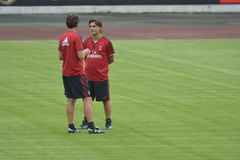 Vincenzo Montella, the chief coach of AC Milan in Guangzhou, China. Guangzhou, China - July, 15th, 2017: AC Milan football team was training in Guangzhou Stock Photo