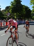 Vincenzo Nibali behind the pink jersey maglia rosaTom Dumoulin near arrival in Bergamo stage in the 100th edition of Giro d`Italia. BERGAMO, ITALY - MAY 21, 2017 Royalty Free Stock Image