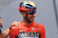 Vincenzo Nibali del equipo de Bahrein Merida Pro Cycling en el podio de la sexta etapa del 102a imagen de archivo libre de regalías