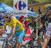 Vincenzo Nibali en el jersey amarillo - Tour de France 2014 Imagen de archivo