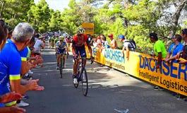 Vincenzo Nibali Leads Esteban Chaves i lopp för LaVuelta España cirkulering fotografering för bildbyråer