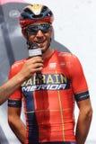 Vincenzo Nibali van het team van Bahrein Merida Pro Cycling op het podium van het zesde stadium van de 102ste Reis van Itali? cas stock foto's