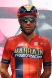Vincenzo Nibali van het team van Bahrein Merida Pro Cycling op het podium van het zesde stadium van de 102th royalty-vrije stock fotografie
