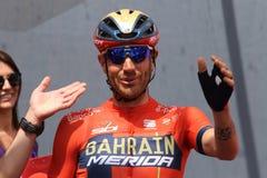 Vincenzo Nibali van het team van Bahrein Merida Pro Cycling op het podium van het zesde stadium van de 102th stock afbeeldingen
