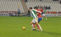 Vincenzo Rennella W (12) i handling under matchligan Cordoba (W) vs Numancia (R) Royaltyfria Foton