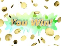 Vincete la cascata delle monete di oro Fotografie Stock