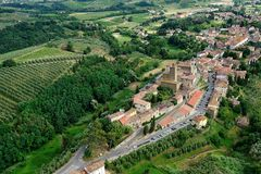 Vinci-Italy. Aerial view of Vinci, Tuscany-Italy royalty free stock photography
