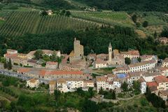 Vinci-Italy. Aerial view of Vinci, Tuscany-Italy stock image