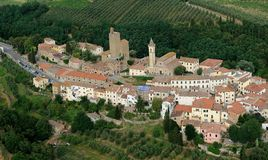 Vinci-Italy. Aerial view of Vinci, Tuscany-Italy royalty free stock image