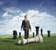 Vincitore dell'uomo d'affari. scacchi Immagini Stock