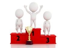 vincitore della gente bianca 3d che celebra sul podio con il trofeo Immagini Stock Libere da Diritti