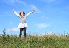 Vincitore - ragazza felice in erba Fotografie Stock