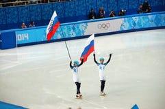 vincitori del Russo di pattinaggio di velocità di Breve viaggio immagine stock