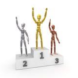 Vincitori in oro, argento, bronzo Immagini Stock Libere da Diritti