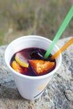 Vincoctail med frukter (sangria) i plast- kopp Royaltyfri Foto