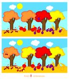 Vind acht verschillen stock illustratie