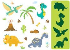 Vind de correcte schaduw: Aanbiddelijke die dinosaurussen op witte achtergrond worden geïsoleerd royalty-vrije illustratie