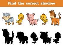 Vind de correcte schaduw voor kinderen De dieren van het landbouwbedrijf royalty-vrije illustratie