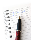 Vind een baan, handschrift op Witboek Stock Afbeelding