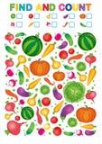 Vind en tel Voor het drukken geschikt aantekenvel voor kleuterschool en kleuterschool Oefeningen voor studieaantallen Heldere Pla royalty-vrije illustratie