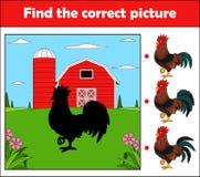 Vind het correcte beeld, onderwijsspel voor kinderen Haan in het landbouwbedrijf royalty-vrije illustratie