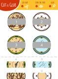 Vind het juiste deel Besnoeiing en lijmspel voor kinderen cirkels stock illustratie