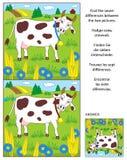 Vind het raadsel van het verschillenbeeld met melkkoe Stock Fotografie