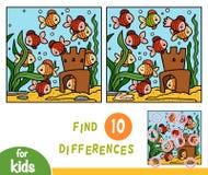 Vind het spel van het verschillenonderwijs, Tien vissen royalty-vrije illustratie
