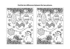 Vind het verschillen visuele raadsel en de kleurende pagina met de ornamenten en de sneeuwman van de Kerstmisboom stock illustratie