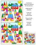 Vind het verschillen visuele raadsel - stuk speelgoed stad Royalty-vrije Stock Fotografie