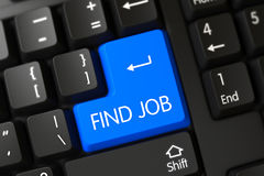 Vind Job CloseUp van Blauw Toetsenbordtoetsenbord 3d Royalty-vrije Stock Foto's