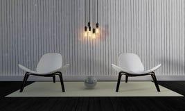 Vind och enkel vardagsrum med den beträffande stol och väggen background-3d Arkivbild