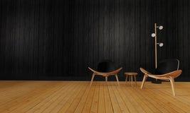 Vind och enkel vardagsrum med den beträffande stol och väggen background-3d royaltyfri bild