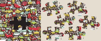 Vind ontbrekend vervoersstuk, visueel spel Oplossing in hidd Stock Foto's